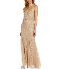 adrianna papell embellished cowl-back gown