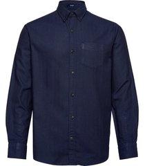 d2. tp herringb solid reg bd overhemd casual blauw gant