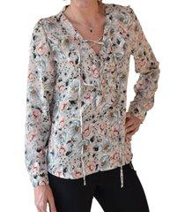 blusa estampado de flores khaky alexandra cid