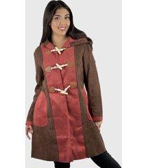 abrigo gamuza bicolor mujer hippie café enigmática boutique