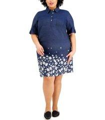 karen scott plus size cotton printed polo-collar dress, created for macy's