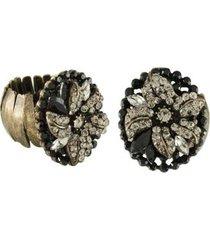 anel armazem rr bijoux flor cristais preto e black diamond ouro velho - feminino
