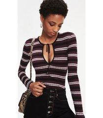 tommy hilfiger women's zendaya metallic knit stripe sweater grape wine - 4