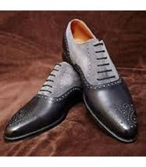 handmade men dress leather brogue two tone shoes,men black and gray formal shoes