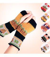 donna guanti invernali senza dita a maglia calda con l'albero di natale cartoon