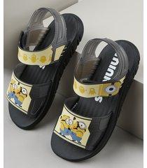 sandália papete infantil grendene minions preta
