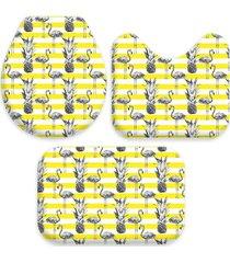 kit 3 tapetes decorativos para banheiro wevans flamingo amarelo