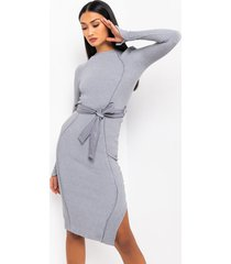 akira she could never. long sleeve belted midi dress