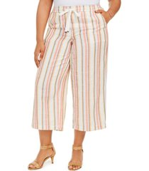 style & co plus size striped cotton cropped pants, created for macy's
