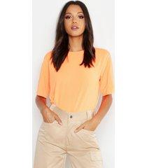 tall neon rib oversized t-shirt, neon-orange