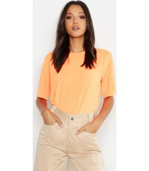tall neon rib oversized t-shirt, neon-orange