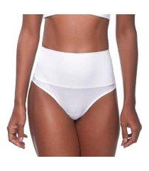 calcinha changerie hot pant cintura alta branco fio dental feminina