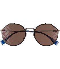 women's fendi round logo sunglasses - ruthenium/ blue/mirror