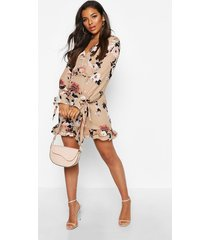 floral print plunge ribbon tie mini dress, nude