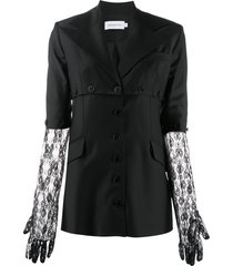 16arlington lace insert fitted jacket - black