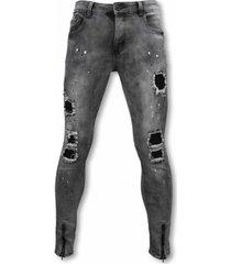 skinny jeans true rise biker jeans - slim fit damaged jeans h paint drops -