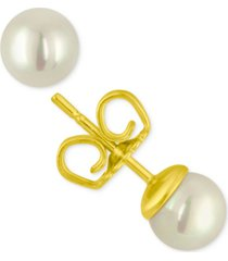 majorica 18k gold vermeil white organic man made pearl (6 mm) stud earrings