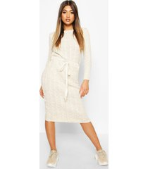 cable knit midi dress, stone