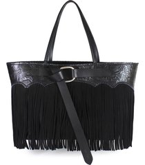 dsquared2 black fringed tote bag