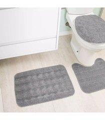 jogo de tapetes para banheiro tapetes junior esmeralda em polipropileno cinza antiderrapante 3 peças
