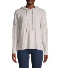 central park west women's juniper rib-knit hoodie - oatmeal - size m