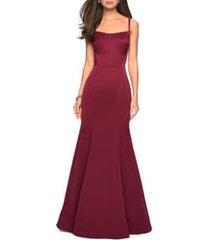 women's la femme structured jersey trumpet gown, size 12 - burgundy