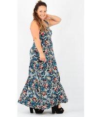 vestido azul minari flor plus size