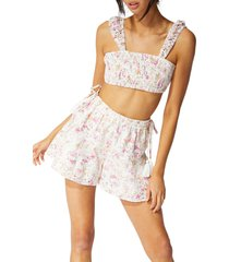 women's minkpink cecile prairie embroidered floral shorts, size medium - red