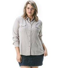 camisa confidencial extra plus size jeans feminina