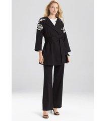 natori cotton twill embroidered jacket, women's, black, size l natori