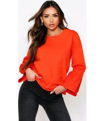 denim panel sleeve sweater, orange