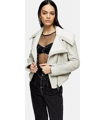 idol gray asymmetric sheepskin biker jacket - grey