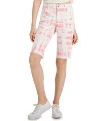 style & co petite tie dye bermuda cutoff shorts, created for macy's