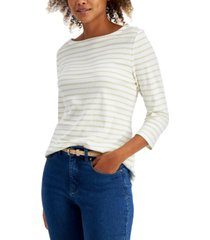 charter club petite cotton striped 3/4-sleeve top, created for macy's
