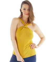 regata decote nã³ loony jeans - amarelo - feminino - dafiti