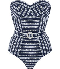 sexy badass plunge balcony bathing suit | wired padded blue and white - 32b