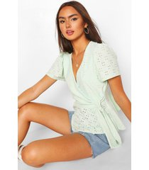 broderie anglaise wrap top, mint