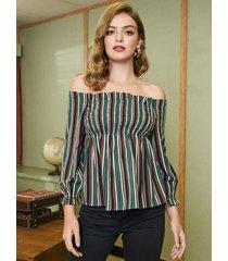 blusa con hombros descubiertos y rayas multicolor