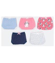 kit com 5 calcinhas infantil em cotton estampa de cachorrinho - tam 2 a 14 anos | accessories | sortidas | 11-12