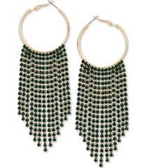 guess crystal fringe dangle hoop earrings