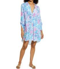 women's lilly pulitzer natalie print cover-up dress, size medium - blue