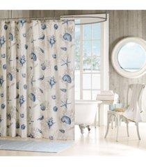 "madison park bayside cotton 72"" x 72"" seashell-print shower curtain bedding"