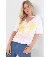 camiseta my favorite thing(s) pinedpple branca - branco - feminino - algodã£o - dafiti