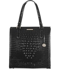 brahmin black melbourne embossed leather large caroline satchel