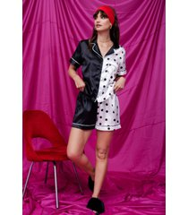 womens spot causing drama satin pajama shorts set - black