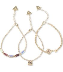 guess gold-tone 3-pc. set crystal & padlock chain bracelets