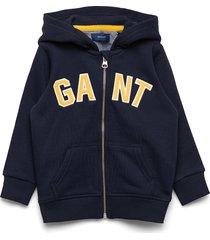 d1. gant logo full zip hoodie hoodie trui blauw gant