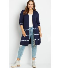 maurices plus size womens navy tie dye open front duster cardigan blue