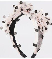 river island womens pink polka dot organza flower headband