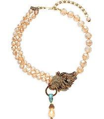 lion roar crystal & rhinestone necklace
